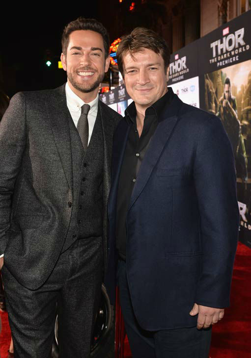 Zachary Levi and Nathan Fillion appear at the 'Thor: The Dark World' premiere in Los Angeles, California on Nov. 4, 2013.