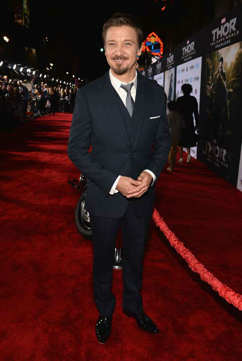 Jeremy Renner appears at the 'Thor: The Dark World' premiere in Los Angeles, California on Nov. 4, 2013.