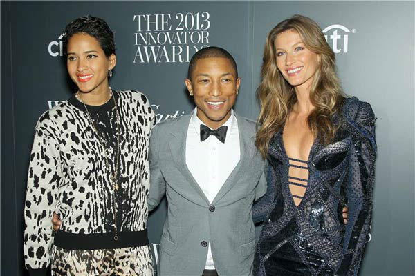 Helen Lasichanh, Pharrell Williams and Gisele Bundchen appear at WSJ Magazine&#39;s &#39;2013 Innovator Awards&#39; in New York City on Nov. 6, 2013. <span class=meta>(Marion Curtis&#47;Startraksphoto.com)</span>
