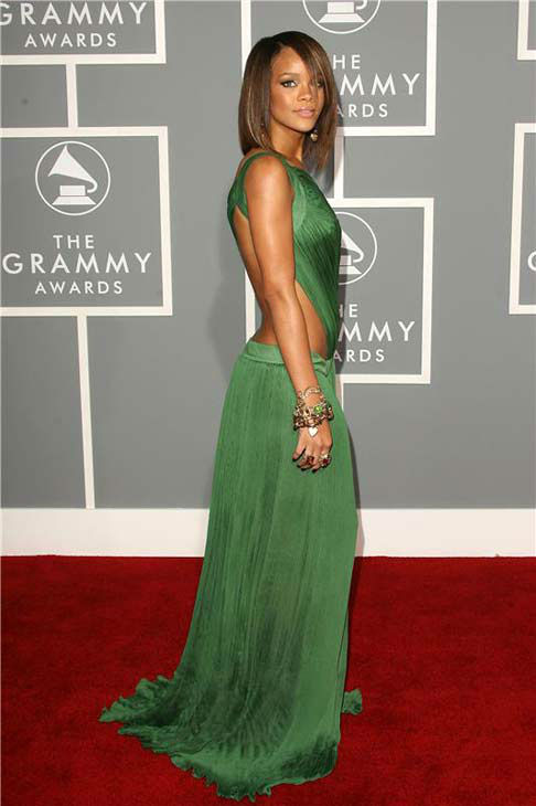 Rihanna appears at the 49th annual GRAMMY awards in Los Angeles, California on Feb. 11, 2007.