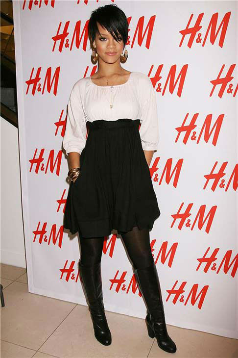 Rihanna appears at the H and M Fashion Against AIDS Collection event in New York City on Jan. 31, 2008.