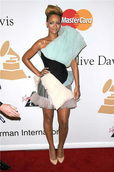 Rihanna appears at the Clive Davis pre-Grammy party in Los Angeles, California on Jan. 30, 2010.