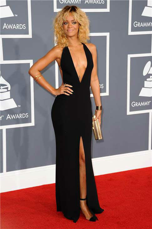 Rihanna appears at the 54th annual GRAMMY Awards in Los Angeles on Feb. 12, 2012.