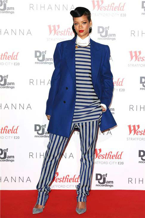 Rihanna appears at the Westfield Stratford Christmas Lights Switch On event in London on Nov. 19, 2012.