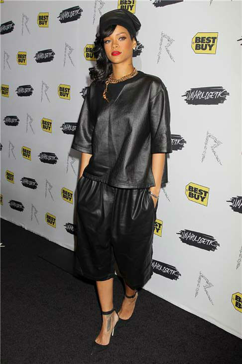 Rihanna appears at a launch party for her album 'Unapologetic' in New York City on Nov. 20, 2012.