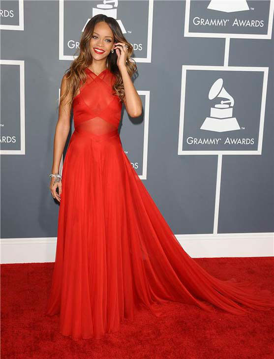 Rihanna appears at the 55th annual GRAMMY Awards in Los Angeles on Feb. 10, 2013.