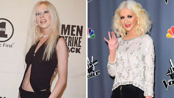 Left -- Christina Aguilera appears at the VH1 Men Strike Back concert in New York City on April 11, 1999.Right -- Christina Aguilera appears at a party for NBC's 'The Voice' on Nov. 7, 2013.
