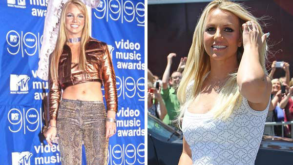 Britney Spears appears in at the 1999 MTV Video Music Awards in New York City on Sept. 9, 1999. Britney Spears appears at a taping of The X Factor in Kansas City, Missouri on June 8, 2012.