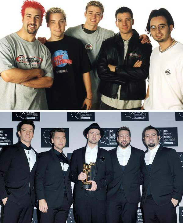 &#39;N Sync burst onto the pop music scene in 1997 with the song &#39;I Want You Back&#39; off of their self-titled debut album. The boy band consisted of JC Chasez, Justin Timberlake, Lance Bass, Joey Fatone and Chris Kirkpatrick. Timberlake and Chasez co-starred together on &#39;The Mickey Mouse Club,&#39; with fellow future pop singers Britney Spears and Christina Aguilera. &#39;N Sync has sold over 50 million albums to date, including breaking the record for selling one million copies of an album in one day, for 2000&#39;s &#39;No Strings Attached,&#39; which featured the smash hits &#39;Bye Bye Bye&#39; and &#39;It&#39;s Gonna Be Me.&#39;   In 2001, the group released their final studio record as a group, titled &#39;Celebrity,&#39; before embarking on solo careers. Timberlake has gone onto become one of the most successful solo artists in the world, releasing three hit studio albums including 2002&#39;s &#39;Justified,&#39; 2006&#39;s &#39;FutureSex&#47;LoveSounds,&#39; and his 2013 musical comeback double album &#39;The 20&#47;20 Experience.&#39; Timberlake has also starred in numerous films, including &#39;The Social Network&#39; and &#39;Friends With Benefits.&#39;  The remaining members, who have all enjoyed varying levels of success post-&#39;N Sync, reunited with Timberlake at the 2013 MTV Video Music Awards for a surprise reunion performance, during Timberlake&#39;s Video Vanguard Award performance. Despite high praise and demand from fans, the group does not plan to reunite for any future recordings.   &#40;Pictured: Left -- &#39;N Sync appears at the &#39;N Sync Challenge for the Children Charity basketball game at Planet Hollywood Atlanta on Aug. 26, 1999. Right -- &#39;N Sync appears at the 2013 MTV Video Music Awards in Brooklyn, New York on Aug. 25, 2013.&#41;  <span class=meta>(Startraks &#47; Humberto Carreno &#47; startraksphoto.com)</span>