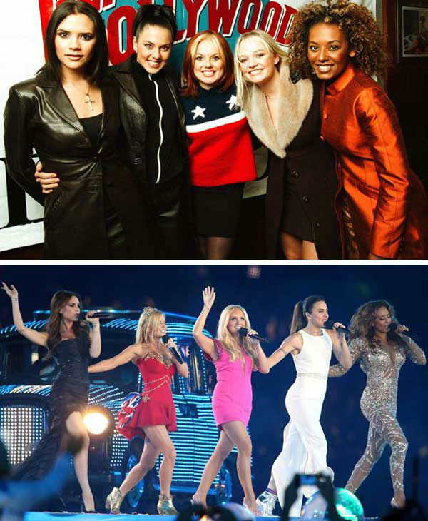 Spice Girls showed the world what I meant to be fierce and full of girl power in the 1990s. The group became famous for their unique style and nicknames. Members included Victoria Beckham &#40;Posh Spice&#41;, Mel B &#40;Scary Spice&#41;, Emma Bunton &#40;Baby Spice&#41;, Geri Halliwell &#40;Ginger Spice&#41; and Melanie Chisholm &#40;Sporty Spice&#41;.   The group reached worldwide success with the albums &#39;Spice&#39; and &#39;Spiceworld,&#39; which featured the hit singles &#39;Wannabe,&#39; &#39;2 Become 1,&#39; &#39;Spice Up Your Life&#39; and &#39;Viva Forever.&#39; In 2000, the group announced that they would be disbanding to focus on solo careers and other endeavors.   In 2007, the group announced that they would be reuniting for a world tour, titled &#39;Return of the Spice Girls,&#39; in conjunction with the release of a greatest hits album. In 2012, the group reunited once again to launch a London musical based on their music, titled &#39;Viva Forever: The Musical.&#39; That same year, the girls performed during the 2012 Summer Olympics in London during the game&#39;s closing ceremonies, where they performed a medley of their greatest hits.   &#40;Pictured: Left -- Spice Girls appear at Planet Hollywood in New York City on Jan. 22, 1998. Right -- Spice Girls appear at the closing ceremonies of the 2012 London Olympic Games on Aug. 12, 2012.&#41;  <span class=meta>(Startraks &#47; Jonathan Hordle &#47; startraksphoto.com)</span>