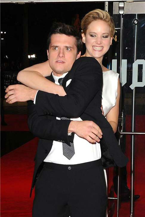 Jennifer Lawrence and Josh Hutcherson joke around at 'The Hunger Games: Catching Fire' U.K. premiere on Nov. 11, 2013.