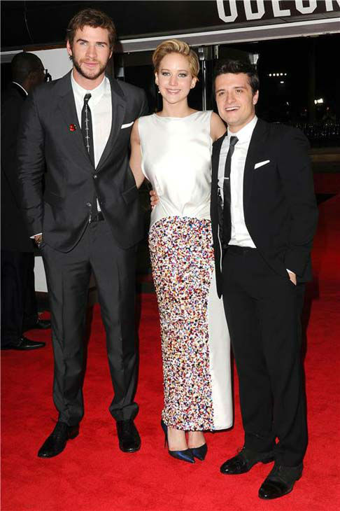 Liam Hemsworth, Jennifer Lawrence and Josh Hutcherson appear at &#39;The Hunger Games: Catching Fire&#39; U.K. premiere on Nov. 11, 2013. <span class=meta>(Richard Young &#47; startraksphoto.com)</span>