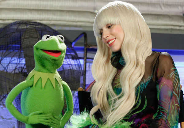 Lady Gaga appears with Kermit the Frog in a promotional photo for 'Lady Gaga and The Muppets' Holiday Spectacular,' which airs on ABC on Nov. 28, 2013.