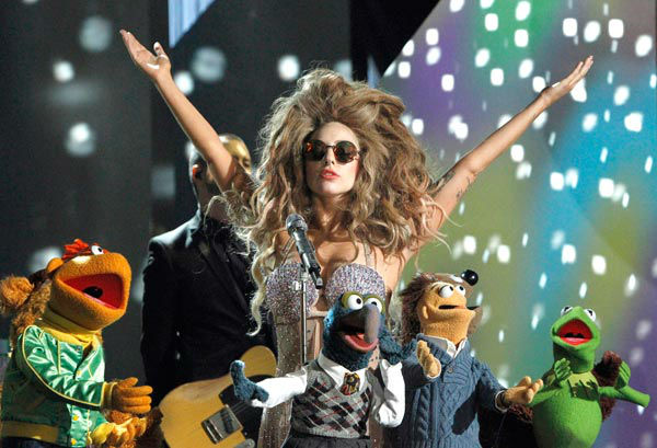 Lady Gaga appears with Muppets in a promotional photo for '