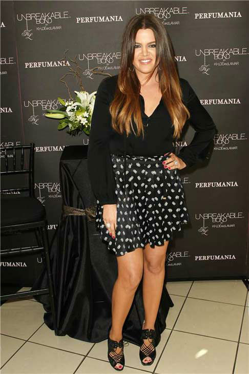 "<div class=""meta ""><span class=""caption-text "">Khloe Kardashian appears at Perfumania in Orange County, California to promote the fragrance 'Unbreakable Bond' on June 7, 2012.  (Erik Jordan / startraksphoto.com)</span></div>"