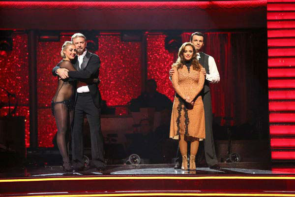 "<div class=""meta ""><span class=""caption-text "">Bill Engvall, Emma Slater, Leah Remini and Tony Dovolani await their fate on week 10 of 'Dancing With The Stars' on Nov. 18, 2013. (ABC Photo/ Adam Taylor)</span></div>"