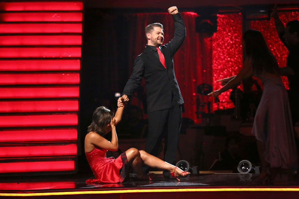 Jack Osbourne and Cheryl Burke react to being safe on week 10 of &#39;Dancing With The Stars&#39; on Nov. 18, 2013. They received 33 out of 40 points from the judges for their Jazz routine. The two later received 38 out of 40 for their second routine, an Argentine Tango. <span class=meta>(ABC Photo&#47; Adam Taylor)</span>