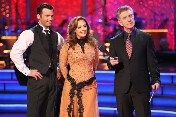 "<div class=""meta image-caption""><div class=""origin-logo origin-image ""><span></span></div><span class=""caption-text"">Leah Remini and Tony Dovolani danced the Argentine Tango on week 10 of 'Dancing With The Stars' on Nov. 18, 2013. They received 33 out of 40 points from the judges. The two received 32 out of 40 for their first routine, a Rumba. (ABC Photo/ Adam Taylor)</span></div>"