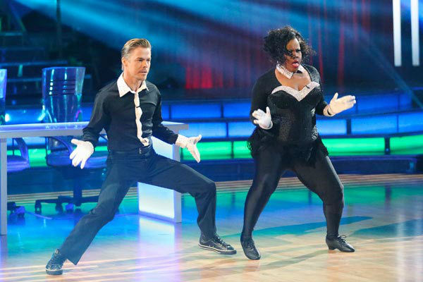 Amber Riley and Derek Hough appear in a still from 'Dancing With The Stars' on Nov. 18, 2013.