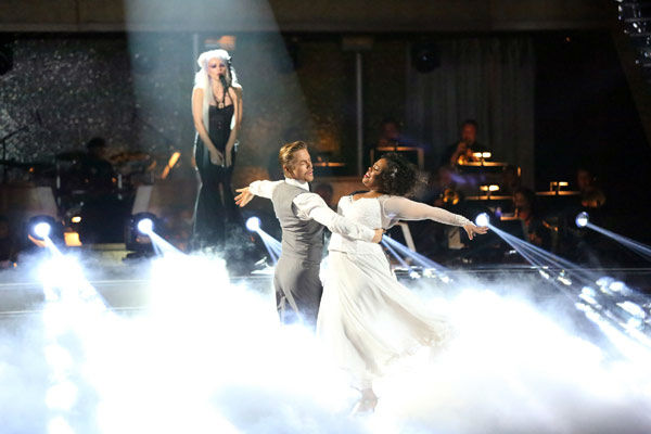 "<div class=""meta image-caption""><div class=""origin-logo origin-image ""><span></span></div><span class=""caption-text"">Amber Riley and Derek Hough dance the Viennese Waltz on week 10 of 'Dancing With The Stars' on Nov. 18, 2013. They received 40 out of 40 points from the judges. The two received 39 out of 40 for their first routine, a Jazz performance. (ABC Photo/ Adam Taylor)</span></div>"