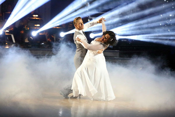 "<div class=""meta ""><span class=""caption-text "">Amber Riley and Derek Hough dance the Viennese Waltz on week 10 of 'Dancing With The Stars' on Nov. 18, 2013. They received 40 out of 40 points from the judges. The two received 39 out of 40 for their first routine, a Jazz performance. (ABC Photo/ Adam Taylor)</span></div>"