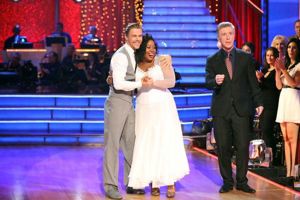 "<div class=""meta ""><span class=""caption-text "">Amber Riley and Derek Hough danced the Viennese Waltz on week 10 of 'Dancing With The Stars' on Nov. 18, 2013. They received 40 out of 40 points from the judges. The two received 39 out of 40 for their first routine, a Jazz performance. (ABC Photo/ Adam Taylor)</span></div>"