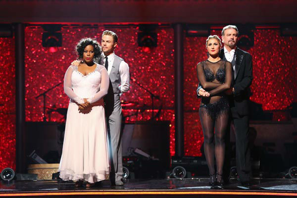 "<div class=""meta ""><span class=""caption-text "">Amber Riley, Derek Hough, Bill Engvall and Emma Slater await their fate on week 10 of 'Dancing With The Stars' on Nov. 18, 2013.  (ABC Photo/ Adam Taylor)</span></div>"