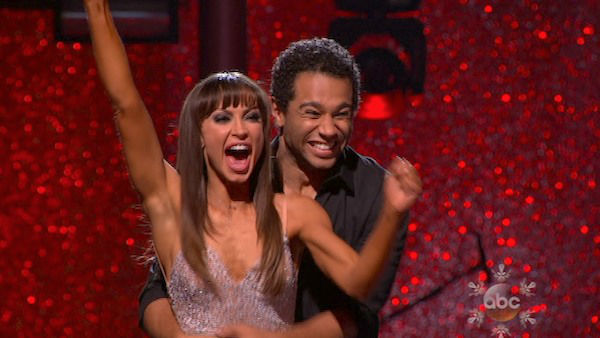 Corbin Bleu and Karina Smirnoff react to being safe on week 10 of &#39;Dancing With The Stars&#39; on Nov. 18, 2013. They received 35 out of 40 points from the judges for their Waltz. The two later received 40 out of 40 for their second routine, a Rumba. <span class=meta>(ABC)</span>