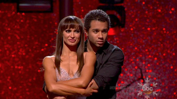 "<div class=""meta ""><span class=""caption-text "">Corbin Bleu and Karina Smirnoff await their fate on week 10 of 'Dancing With The Stars' on Nov. 18, 2013. They received 35 out of 40 points from the judges for their Tango. The two later received 40 out of 40 for their second routine, a Rumba. (ABC)</span></div>"