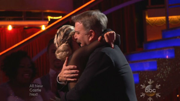 Bill Engvall and Emma Slater react to being safe on week 10 of &#39;Dancing With The Stars&#39; on Nov. 18, 2013. They received 28 out of 40 points from the judges for their Cha Cha Cha routine. The two later received 32 out of 40 for their second routine, an Argentine Tango. <span class=meta>(ABC)</span>