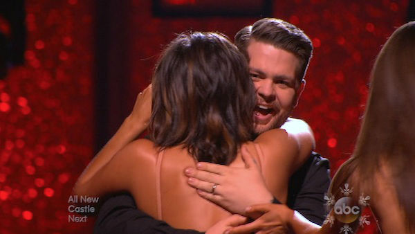 Jack Osbourne and Cheryl Burke react to being safe on week 10 of &#39;Dancing With The Stars&#39; on Nov. 18, 2013. They received 33 out of 40 points from the judges for their Jazz routine. The two later received 38 out of 40 for their second routine, an Argentine Tango. <span class=meta>(ABC)</span>