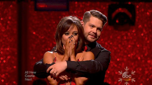 Jack Osbourne and Cheryl Burke await their fate on week 10 of &#39;Dancing With The Stars&#39; on Nov. 18, 2013. They received 33 out of 40 points from the judges for their Jazz routine. The two later received 38 out of 40 for their second routine, an Argentine Tango. <span class=meta>(ABC)</span>