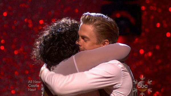 "<div class=""meta image-caption""><div class=""origin-logo origin-image ""><span></span></div><span class=""caption-text"">Amber Riley and Derek Hough react to being safe on week 10 of 'Dancing With The Stars' on Nov. 18, 2013. They received 39 out of 40 points from the judges for their Jazz routine. The two later received 40 out of 40 for their second routine, a Viennese Waltz. (ABC)</span></div>"