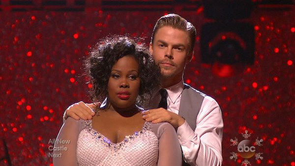 Amber Riley and Derek Hough await their fate on week 10 of &#39;Dancing With The Stars&#39; on Nov. 18, 2013. They received 39 out of 40 points from the judges for their Jazz routine. The two later received 40 out of 40 for their second routine, a Viennese Waltz. <span class=meta>(ABC)</span>