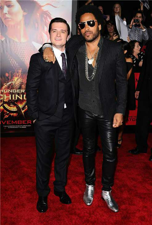 Josh Hutcherson and Lenny Kravitz appear at the Los Angeles premiere of 'The Hunger Games: Catching Fire' on Nov. 18, 2013.
