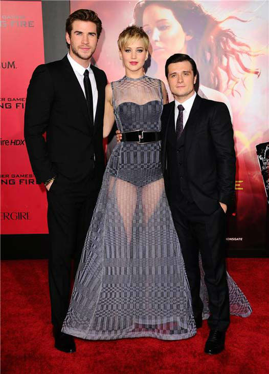 Liam Hemsworth, Jennifer Lawrence and Josh Hutcherson appear at the Los Angeles premiere of 'The Hunger Games: Catching Fire' on Nov. 18, 2013.