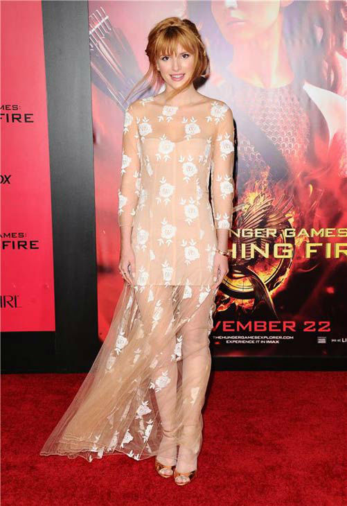 "<div class=""meta ""><span class=""caption-text "">Bella Thorne appears at the Los Angeles premiere of 'The Hunger Games: Catching Fire' on Nov. 18, 2013. (Sara De Boer / startraksphoto.com)</span></div>"
