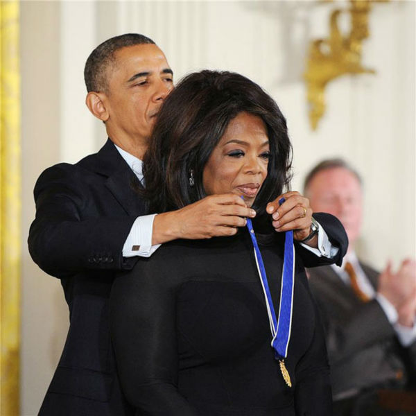 "<div class=""meta image-caption""><div class=""origin-logo origin-image ""><span></span></div><span class=""caption-text"">President Barack Obama awards Oprah Winfrey with the Presidential Medal of Freedom, Wednesday, Nov. 20, 2013, during a ceremony in the East Room of the White House in Washington.  (Olivier Douliery/AbacaUSA/startraksphoto.com)</span></div>"