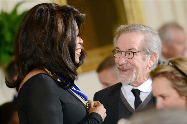 "<div class=""meta image-caption""><div class=""origin-logo origin-image ""><span></span></div><span class=""caption-text"">Oprah Winfrey and Steven Spielberg appear at the 2013 Presidential Medal Of Freedom ceremony on Wednesday, Nov. 20, 2013, in the East Room of the White House in Washington. (Olivier Douliery/AbacaUSA/startraksphoto.com)</span></div>"