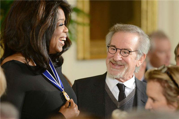 Oprah Winfrey and Steven Spielberg appear at the 2013 Presidential Medal Of Freedom ceremony on Wednesday, Nov. 20, 2013, in the East Room of the White House in Washington. <span class=meta>(Olivier Douliery&#47;AbacaUSA&#47;startraksphoto.com)</span>