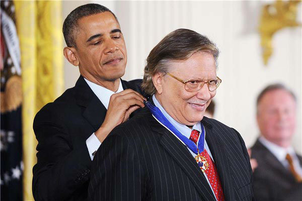 President Barack Obama awards musician Arturo Sandoval with the Presidential Medal of Freedom, Wednesday, Nov. 20, 2013, during a ceremony in the East Room of the White House in Washington.  <span class=meta>(Olivier Douliery&#47;AbacaUSA&#47;startraksphoto.com)</span>