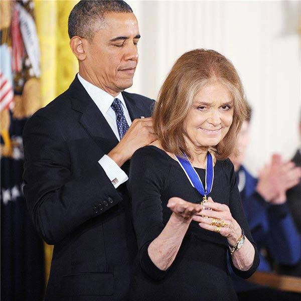 President Barack Obama awards activist Gloria Steinem with the Presidential Medal of Freedom, Wednesday, Nov. 20, 2013, during a ceremony in the East Room of the White House in Washington.  <span class=meta>(Olivier Douliery&#47;AbacaUSA&#47;startraksphoto.com)</span>