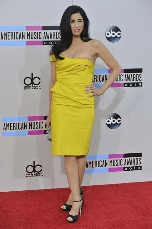 Sarah Silverman arrives at the American Music Awards at the Nokia Theatre L.A. Live on Sunday, Nov. 24, 2013, in Los Angeles.