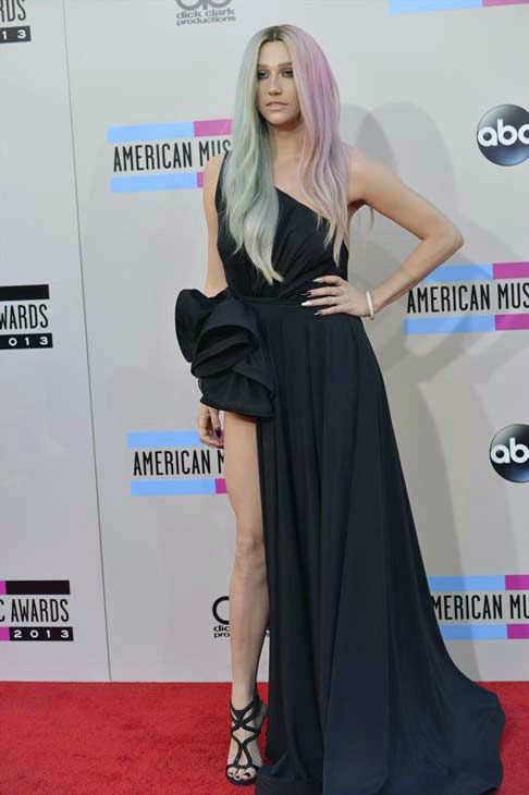 Ke$ha arrives at the American Music Awards at the Nokia Theatre L.A. Live on Sunday, Nov. 24, 2013, in Los Angeles.