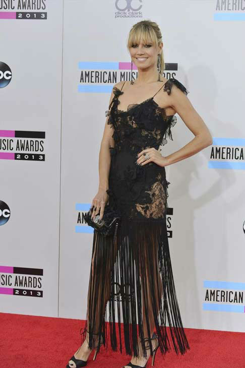 "<div class=""meta ""><span class=""caption-text "">Heidi Klum arrives at the American Music Awards at the Nokia Theatre L.A. Live on Sunday, Nov. 24, 2013, in Los Angeles. (ABC Photo/Richard Harbaugh)</span></div>"
