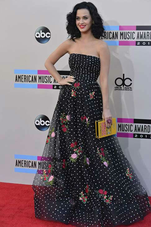 "<div class=""meta ""><span class=""caption-text "">Katy Perry arrives at the American Music Awards at the Nokia Theatre L.A. Live on Sunday, Nov. 24, 2013, in Los Angeles. (ABC/Richard Harbaugh)</span></div>"
