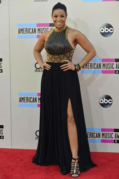Jordin Sparks arrives at the American Music Awards at the Nokia Theatre L.A. Live on Sunday, Nov. 24, 2013, in Los Angeles.