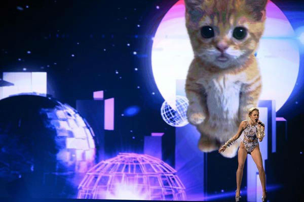 Miley Cyrus gets catty  Miley Cyrus was the final performer of the evening, taking to the 2013 AMAs stage to perform her hit single &#39;Wrecking Ball.&#39; Cyrus wore a cat-print bikini and sang the emotional ballad behind a screen featuring galactic images and an oversized cat lip syncing along with Cyrus to the song. In signature Cyrus style, the cat stuck out its tongue out at the end of the performance. <span class=meta>(ABC Photo&#47; Matt Brown)</span>