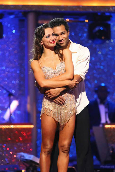 "<div class=""meta ""><span class=""caption-text "">Corbin Bleu and Karina Smirnoff await their fate on the season 17 finale of 'Dancing With The Stars' on Nov. 26, 2013. The two scored a total of 89 out of 95 points for both nights. (ABC Photo/ Adam Taylor)</span></div>"