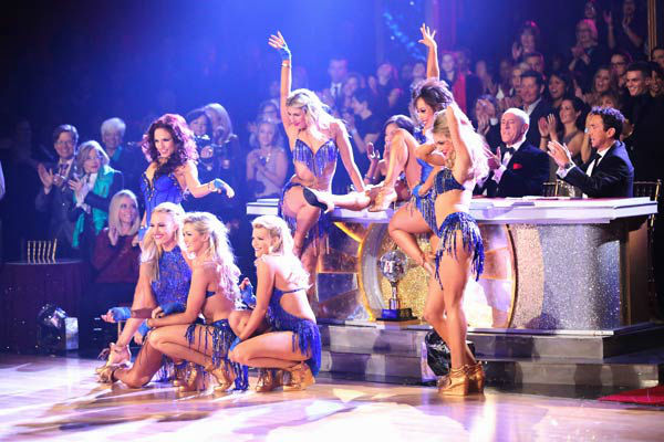 Pro dancers Sharna Burgess, Peta Murgatroyd, Lindsay Arnold, Witney Carson, Emma Slater, Cheryl Burke and Tyne Stecklein perform on the season 17 finale of 'Dancing With The Stars' on Nov. 26, 2013.